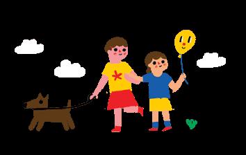 meninas, o balão e o cachorro